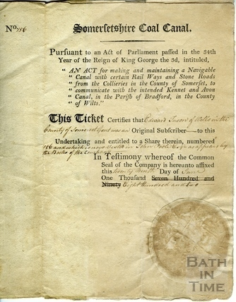Somersetshire Coal Canal share certificate ticket 1794