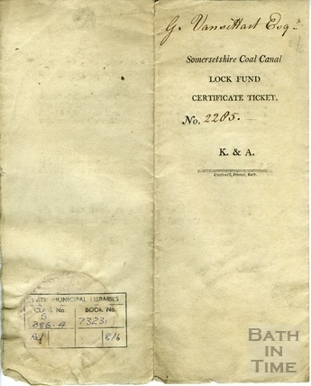 Somersetshire Coal Canal Lock Fund Certificate Ticket 1803