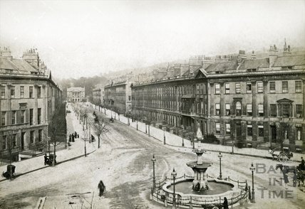 View from Laura Place, looking towards the Holburne Museum, Great Pulteney Street, Bath c.1880