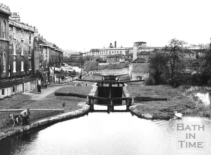 General View looking downstream over Chapel Lock, Widcombe, Bath 1956
