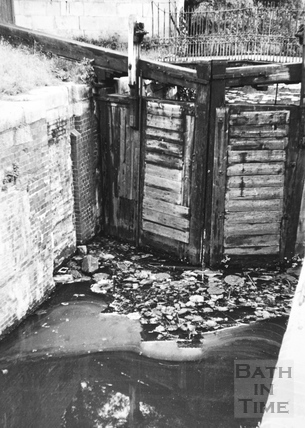 Tail gates of Wash House Lock, Widcombe, Bath 1956