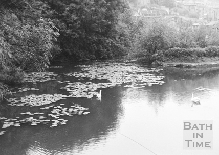 General view of upstream side of Bridge Lock looking south west, Widcombe, Bath 1956