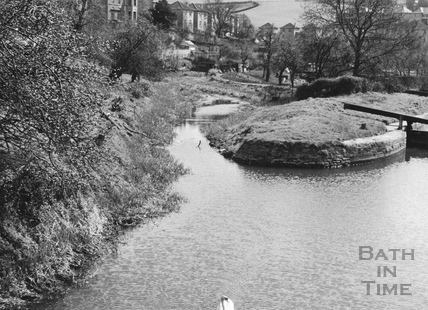 Compensating pool above Second Lock, Widcombe, Bath 1956