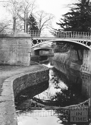 View looking upstream showing Sydney Gardens footbridge, Bathwick, Bath 1956