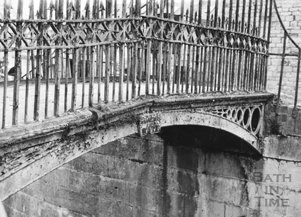 Details of footbridge at tail end of Wash House Lock, Widcombe, Bath 1956