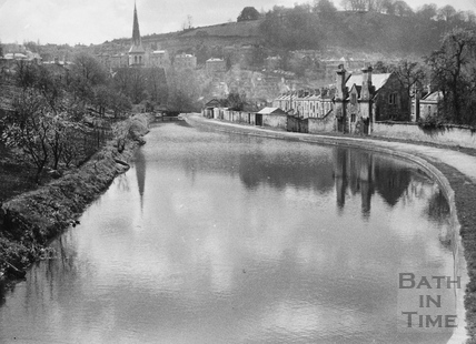 View towards St. Matthew's Church, Widcombe, Bath 1956