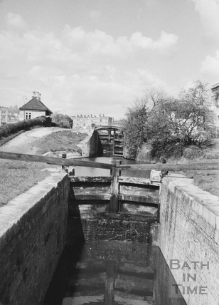 View towards Second Lock, Bathwick, Bath 1956