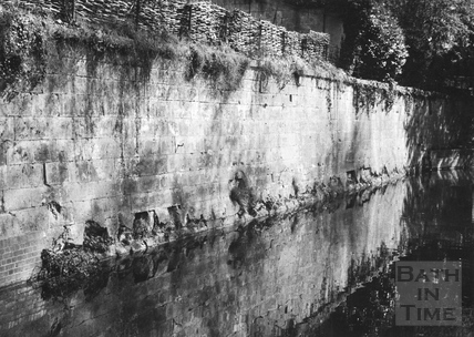Retaining wall on east side between carriage drive bridge in Sydney Gardens and Beckford Road tunnel, Bathwick, Bath 1956