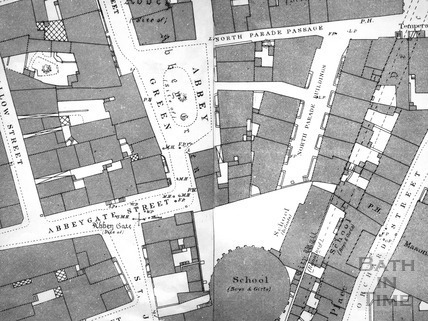 Abbey Green, Abbeygate Street, North Parade Passage, Bath 1:500 OS map 1886 - detail