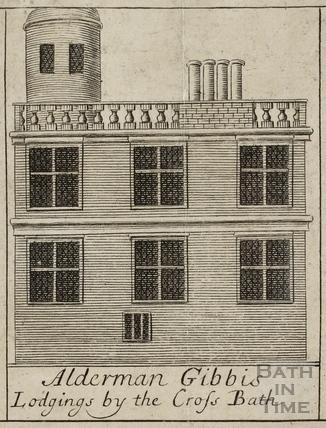 Alderman Gibbis. Lodgings by The Cross Bath, Bath. Gilmore 1694-1717 - detail