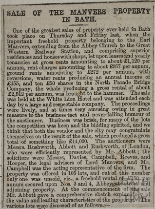 Clipping re. the Manvers Estate Sale, Bath 1874