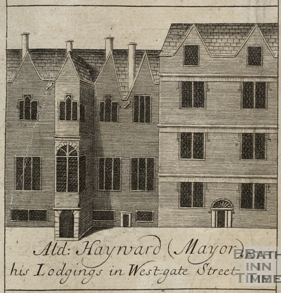 Alderman Hayward (Mayor) his Lodgings in Westgate Street, Bath. Gilmore 1694-1717 - detail