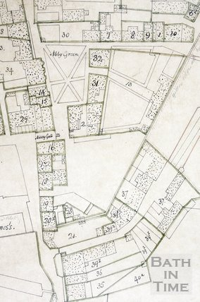 Detail from copy of a plan of land south of Bath Abbey, Bath 1750