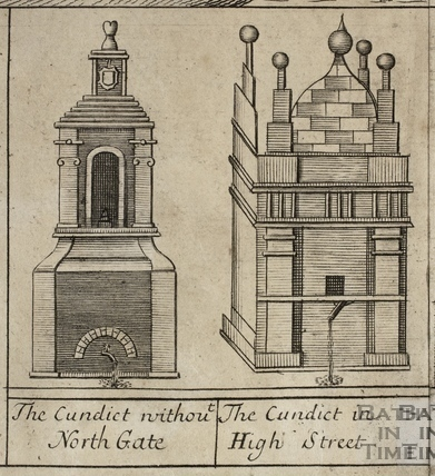 The Cundict (Conduit) without North Gate, Bath. The Cundict in High Street. Gilmore 1694-1717 - detail