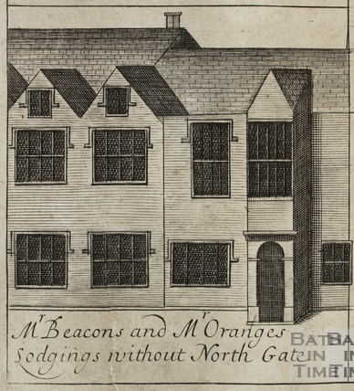 Mr. Beacon's and Mr. Orange's Lodgings without North Gate, Bath. Gilmore 1694-1717 - detail