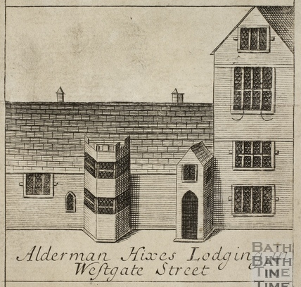 Alderman Hixe's Lodgings in Westgate Street, Bath. Gilmore 1694-1717 - detail