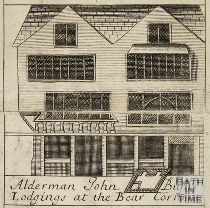 Alderman John Bush's Lodgings at the Bear Corner, Bath. Gilmore 1694-1717 - detail