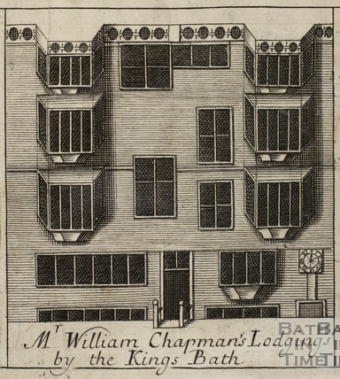 Mr. William Chapman's Lodgings by the King's Bath, Bath. Gilmore 1694-1717 - detail