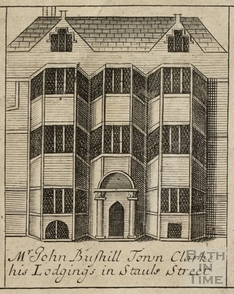 Mr John Bushill Town Clark. His Lodgings in Stall Street, Bath. Gilmore 1694-1717 - detail