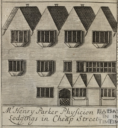 Mr. Henry Parker Physician his Lodgings in Cheap Street, Bath. Gilmore 1694-1717 - detail