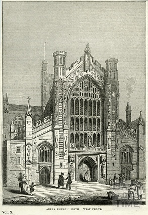 West front of Abbey Church, Bath 1837
