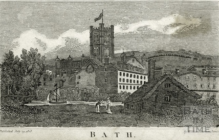 View across the River Avon to The Abbey, Bath 1818