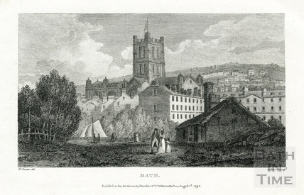 View across the River Avon to The Abbey, Bath 1795