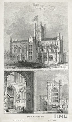 Three views of Bath Cathedral, Bath 1843
