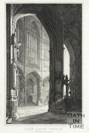 Bath Abbey Church. View, looking S.W. of Nave, &c, Bath c.1815