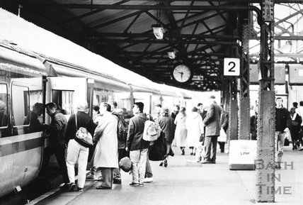 Bath Spa Station from the platform, Bath 1989