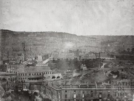 Bath Spa Station view from Beechen Cliff, Bath c.1850