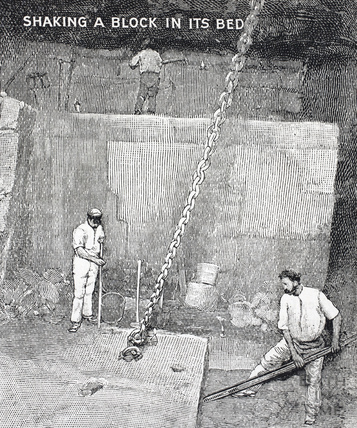 Shaking a block in its bed, Bath stone 1902