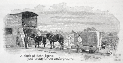 A block of Bath Stone just brought from underground 1902