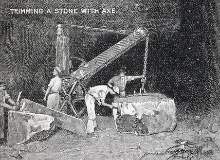 Trimming a stone with axe, Bath stone 1902