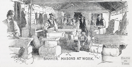 Banker Masons at work, Bath stone 1902