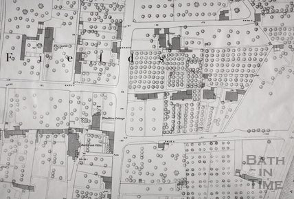 The Castle and Bathwick Villa area, Bath 1:500 OS map 1886 - detail