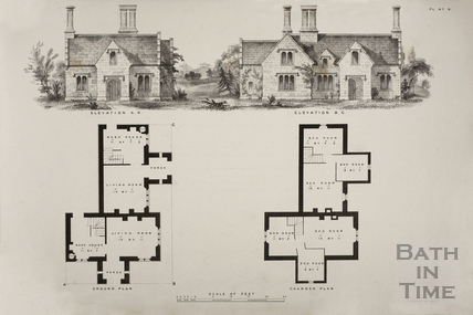 Elevations for a pair of labourer's cottages on the Estate of Thomas Poynder Esq., Bowden Hill, Lacock