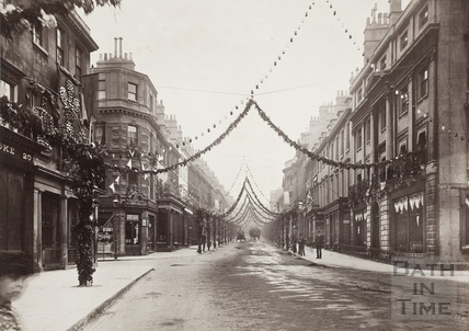 View along Milsom Street, decorated for Queen Victoria's Diamond Jubilee, Bath 1897