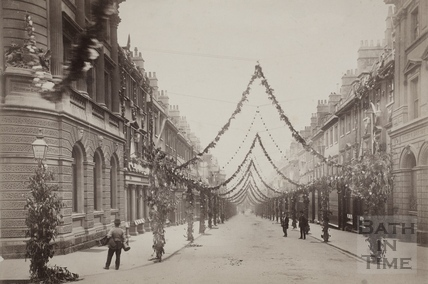 View down Milsom Street, decorated for Queen Victoria's Diamond Jubilee, Bath 1897