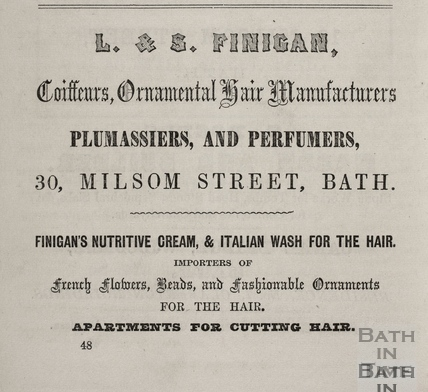 L. & S. Finigan, Coiffeurs, Ornamental Hair Manufacturers, 30, Milsom Street, Bath 1856