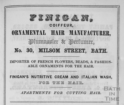 R. Finigan, Coiffeur, Ornamental Hair Manufacturer, 30, Milsom Street, Bath 1849