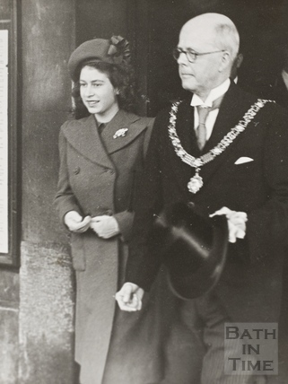 Mayor Edgar Clements and Princess Elizabeth, Bath 1945