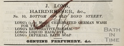 J. Long, Hairdresser &c. 10, Old Bond Street, Bath 1855