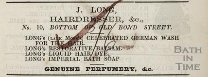 J. Long, Hairdresser &c. 10, Old Bond Street, Bath 1855