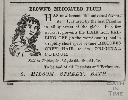 A.A. Brown, Brown's Medicated Fluid, 9, Milsom Street, Bath 1854