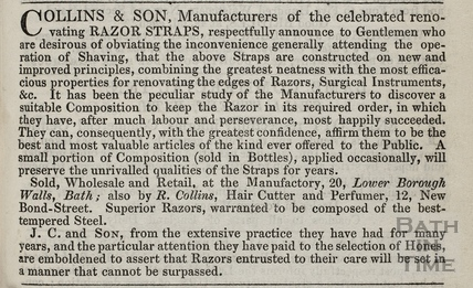 J. Collins & Son, manufacturers of the celebrated razor straps, 20, Lower Borough Walls, Bath 1836