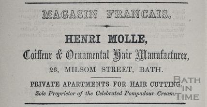H. Molle, Magasin Francais, 26, Milsom Street, Bath 1862