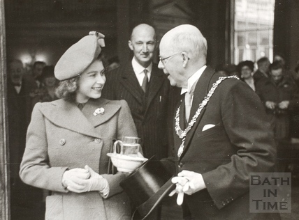 Mayor Edgar Clements and Princess Elizabeth inside the Pump Room, Bath 1945