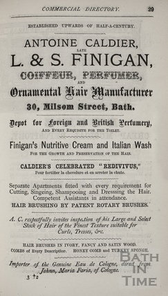 A. Caldier, late L. & S. Finigan, 30, Milsom Street, Bath 1872