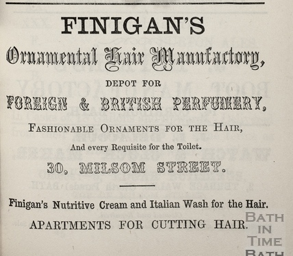 L. & S. Finigan's Ornamental Hair Manufactory, 30, Milsom Street, Bath 1864